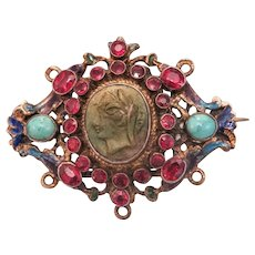 Antique Lava Cameo Enamel  brooch with Garnets and Turquoise, gilt silver, 19th century