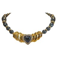 Vintage Hematite necklace with Swarovsky stones, gold plated, ca. 1970