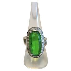 Vintage ring with a green glass cabochon, silver 800, ca. 1930
