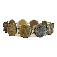 Antique Lava Cameo bracelet, plated silver, 19th century