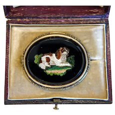 Antique Roman Micro Mosaic brooch depicting a Spaniel, silver, 19th century - Red Tag Sale Item