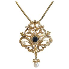 Vintage  Sapphire and Diamond pendant/brooch, 18k yellow gold ,early 20th  century