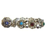 Antique gilt metal bracelet with Enamel,Garnets and glass stones,ca.1900