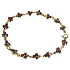 Antique Bohemian Garnet Tennis bracelet, 9k yellow gold,late 19th century