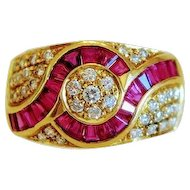 Vintage Diamond and Ruby ring, 18k yellow gold, ca. 1970