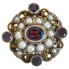 Antique Garnet and cultured pearl brooch,gilt silver, 19th century
