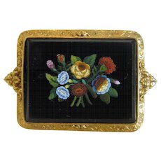 Antique Roman Micro Mosaic brooch, 18 k yellow gold, 19th century