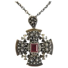 Victorian Sterling Jerusalem cross pendant, 19th century
