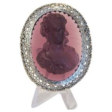 Antique  glass Cameo brooch  , silver 800, 19th century