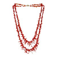 Vintage orange red branch Coral necklace, ca. 1950