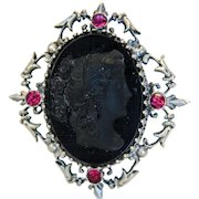 Antique black glass Cameo brooch, silver 800, 19th century