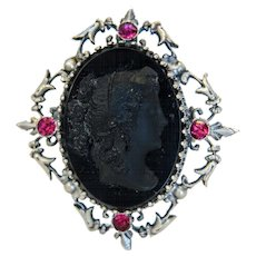 Antique black glass Cameo brooch, silver 800, 19th century