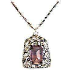 Antique Amethyst silver pendant, ca. 1900