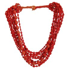 Vintage artful  red glass bead necklace, ca.1940