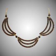 Vintage Garnet necklace, 9k yellow gold, ca.1950