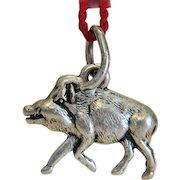 Antique piggy charm pendant , silver 800, 19th century