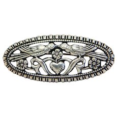 Victorian love birds brooch, silver 800; 19th century