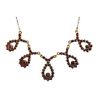 Antique Garnet necklace, gilt silver, 19th century