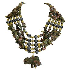 Vintage Unakite and Hematite necklace, ca. 1960