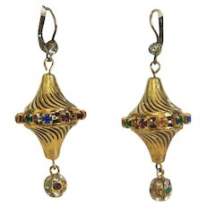 Vintage gilt metal dangle earrings set with colorful glass stones, ca. 1940