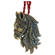 Vintage horse head pendant/ brooch with Marcasites, silver 925, ca. 1940