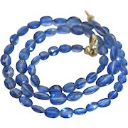 Vintage blue Sapphire bead necklace, ca. 1970