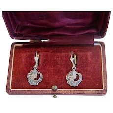 Antique silver lady´s face earrings, ca. 1900 - Red Tag Sale Item