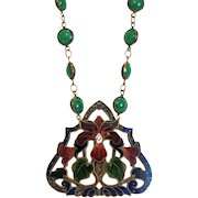 Antique Enamel and Chrysopras necklace, ca. 1900