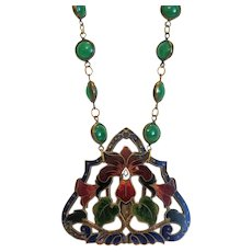 Antique Enamel and Chrysopras necklace, ca. 1900 - Red Tag Sale Item
