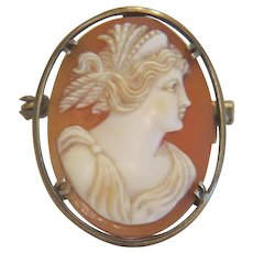 Antique hand carved shell Cameo, silver 800, 19th century