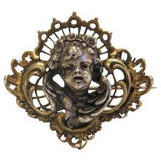 Antique angel head brooch, silver ,19th century