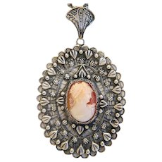 Antique shell Cameo pendant, silver 800, 19th century - Red Tag Sale Item