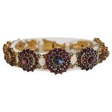 Antique Garnet bracelet, gilt silver, 19th century