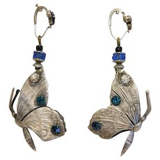 Art Nouveau butterfly earrings with blue glass stones, silver 800, ca. 1900