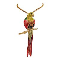 Vintage enamel and crystal stone parrot pendant/ brooch, 20th century
