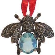 Art Deco blue Topaz pendant brooch, silver 925, ca.1910