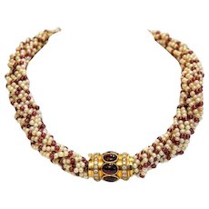 Vintage pearl necklace with Garnet and Diamond closure, ca.1970
