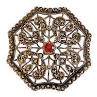 Art Nouveau Marcasite and Garnet brooch/pendant, silver 925, ca. 1900
