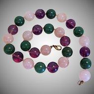 Vintage Amethyst, Rose Quartz and Chrysopras bead necklace, ca. 1960