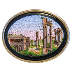 Antique Micro Mosaic brooch , silver 800, 19th century