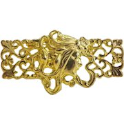 Art Nouveau gilt metal brooch, ca. 1900