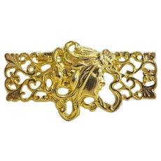 Art Nouveau gilt metal brooch, ca. 1900