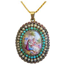 Antique Vienna Enamel locket, gilt silver, 19th century