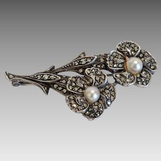 Antique flower brooch with Marcasites, late 19th century