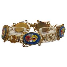 Micro Mosaic bracelet depicting colorful flowers, gilt metal , ca. 1920