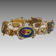 Micro Mosaic bracelet depicting colorful flowers, gilt metal , ca. 1920