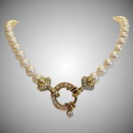 Vintage cultured pearl necklace with diamond closure, ca. 1970
