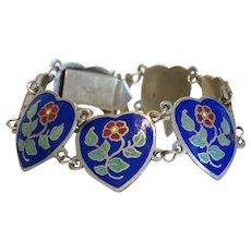 Vintage Siam Sterling  enamel bracelet,dated ca. 1950