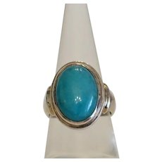 Vintage Amazonite cabochon  ring  set in silver 925, ca. 1950