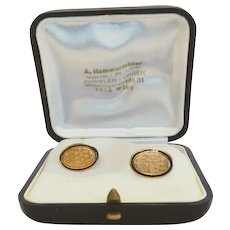 Vintage yellow gold cuff links with enamel, ca.1920